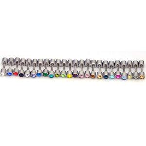 4mm width Austrian crystal titanium dumbbell Men Women stud earrings 24 colors