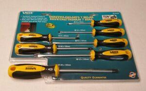 Value Tools 7 Piece Screwdriver Set 30.9469 Yellow Germany TUV GS Rare