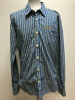 GG184 MENS SUPERDRY BLUE YELLOW STRIPED L/SLEEVE FITTED SHIRT UK LARGE L EU 54