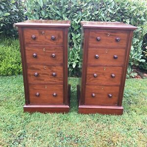 victorian circa 1870 pair of mahogany wellington chests or bedside cabinets