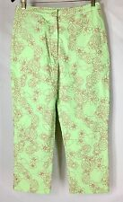 Lilly Pulitzer Pineapple Floral Embroidered Crop Pants Green Beach Cruise Size 6