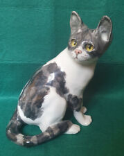 More details for winstanley grey and white cat - size 4 - glass eyes - signed