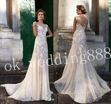 Sheer Lace Grace Applique White/Ivory Beach Bridal Gown Wedding Dress Custom NEW