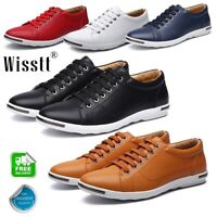 Mens Leather Shoes Casual Work Breathable Leisure Athletic Shoes Tennis Sneakers