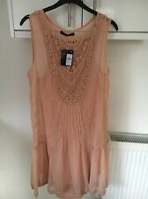 SIZE 12 PINK BLUSH SUMMER DRESS WITH CROCHET AND LACE DETAIL BY ATMOSPHERE BNWT