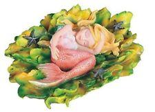 """Mermaid Baby Merbaby Sleeping on Seaweed Figurine Pink 5.5"""" W"""