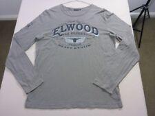 097 MENS EX-COND ELWOOD HAULAGE MUSHROOM / BLACK PRINT L/S T-SHIRT XL $100 RRP.