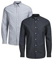 JACK & JONES Premium Print Long Sleeve Mens Slim Fit Cotton Shirt Button Down