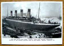 REPRODUCTION POSTCARD PHOTOGRAPH OF RMS TITANIC UNDER CONSTRUCTION AT BELFAST