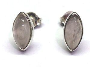 Handmade 925 Sterling Silver 11mm x 6mm Rose Quartz Marquise Pip Stud Earrings