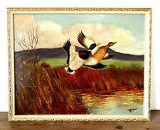 Original Vintage Mid Century Oil Painting on Board Mallard Ducks Game Signed