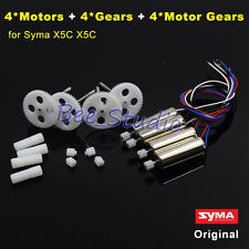 4PCS Original CW/CCW Motor Engine + Gear Wheel Set Syma X5C RC Drone Spare Parts