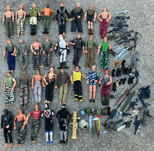 """Vintage Lot of 29 12"""" Gi Joe Action Figures Army Dolls w. 60+ Accessories"""