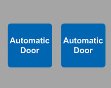 4x AUTOMATIC DOOR sticker sign, Blue, Self Adhesive, small Square 7x7cm