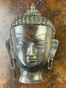 ANTIKE BRONZE BÜSTE SKULPTUR BUDDHA