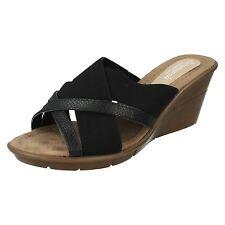 Ladies Savannah Black Slip On Wedge Mules UK Sizes 3 - 8 F10744