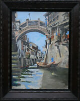 ROBERT CECIL ROBERTSON SCOTTISH ART 1930'S CHINESE CANAL LANDSCAPE OIL PAINTING