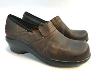 ARIAT brown texture oiled leather slip on comfort platform clogs 6 FREE SHIP