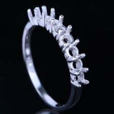 925 Plate White Gold Prong Solitaire Semi-Mount Ring 3mm Round Sterling Silver