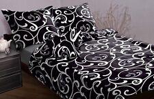 3-tlg Mako ropa de cama satinada Negro Blanco 155x200 ¡NUEVO! 155 x 200 DISEÑO