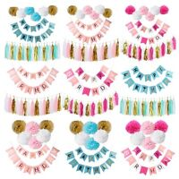 Happy Birthday Banner Set Tissue Paper Pompom Tassel Garland Party Hanging Decor