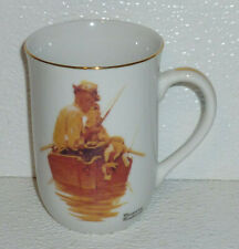 Norman Rockwell Mug Cup Grand Pals Vtg Fishing On Boat 4""