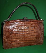 VINTAGE CROCODILE HAND BAG ,SINGLE HANDLE ,  BROWN