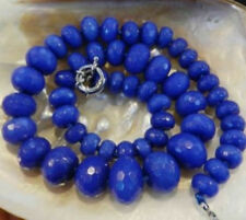 """10-17mm Faceted Blue Sapphire Gemstone Roundel Beads Necklace 19""""  AAA"""