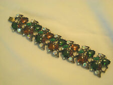 """ SELRO "" Signed Vintage Bracelet Fall Colors Wide Tear Drop Rhinestones AnB"