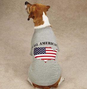 Zack & Zoey America's Pup Dog Tee T-Shirt Flag US Map Gray Grey Patriotic