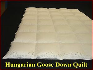 HERS & HIS MARRIAGE SAVER KING SIZE QUILT 95% HUNGARIAN GOOSE DOWN 1/3 BLANKET