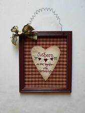 country framed fabric sign sisters wall hanger  picture frame