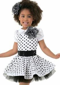 NEW Weissman Dance Costume Dress SC & XXLC Child Black White Polka Dot Tulle