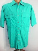 Hook and Tackle Outfitters Teal Blue Vented Fishing Shirt Mens Size Small