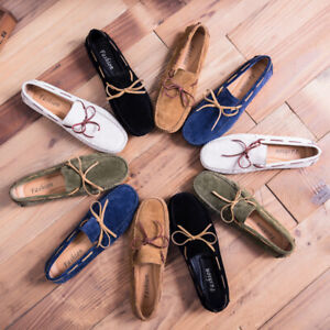 Mens Round toe Suede Slip on Loafers Soft sole Driving Moccasin Gomminos Shoes s