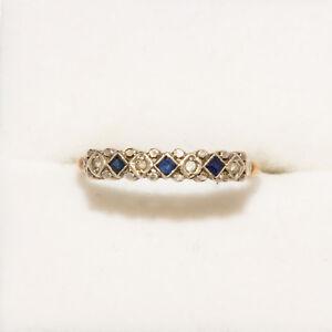 9 ct Gold, Diamond & Sapphire Ring Size US 9 AUST R .5