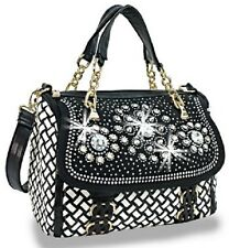 Rhinestone Black/White Basketweave Handbag Dual Handles Attchable Exendable S