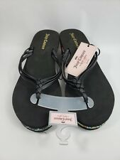 Juicy Couture Wedge Sandals Black with Multicolor NWOB Size Large 9/10 (077)