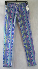 Celebrity Pink Juniors' Printed Skinny Low-Rise Jeans, Multi-Color, Size 0 / 24W