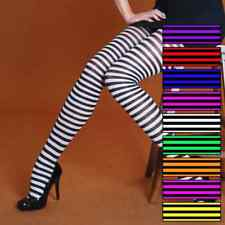 FANCY DRESS RINGER TIGHTS VARIOUS COLOURS SILKY STRIPED PINK PURPLE YELLOW