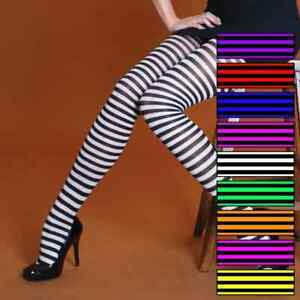 HALLOWEEN FANCY DRESS RINGER TIGHTS VARIOUS COLOURS STRIPED PINK PURPLE YELLOW