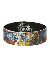 "NEW Disney Belle Beauty and The Beast Dancing Stained Glass 1"" Rubber Bracelet"
