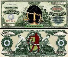 Libra Zodiac Million Dollar Bill Fake Play Funny Money Novelty Note +FREE SLEEVE