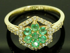 R113 Genuine 9K SOLID Gold NATURAL Diamond EMERALD Cluster Engagement Ring sz N