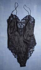 Vintage Neiman Marcus Adagio 100% Silk Lace Trim Teddy Size Petite in Black
