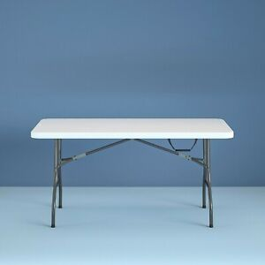 Cosco 6 Foot Centerfold Folding Table, White, Heavy Duty, Easy Clean, Easy Carry