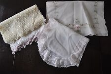 4  Vintage Rayon Flowers Table Runners Scarves  Embroidered   Pink/Yellow/Mauve