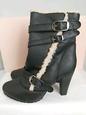 Black Leather Calf High Boots Size UK 6 Shearling Trim & Lined Brand New