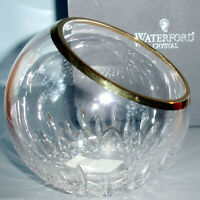 """Waterford Crystal Lismore Essence Golden 8"""" Rose Bowl Angled Top #163799 New"""
