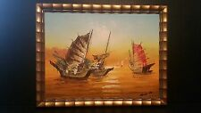 Tang Pui Asian Chinese Artist Junks In The Harbor Oil Painting Framed Signed